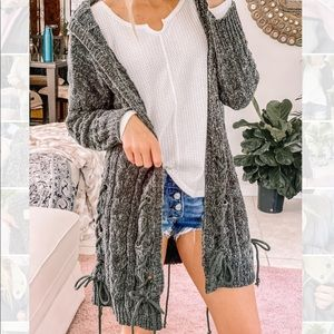 Mossy Chenille Ultra plush hooded laced cardigan